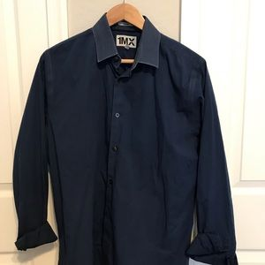 Express Button Down 1MX solid color fitted shirt L